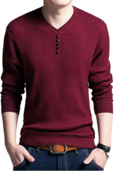 Men's Solid Color Pullover Wool Casual Knitwear V Neck Sweater(Wine Red)