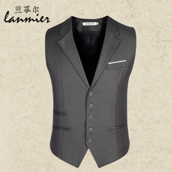 Men's suit Slim fit wedding spring New style tide men vest (Gray)(Gray)