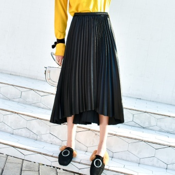 Mid-length metal color organ pleated dress New style half-length skirt (Black)