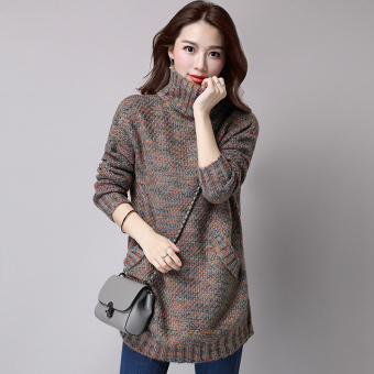 Mid-length slimming base shirt LOOESN knitted shirt (Gray)