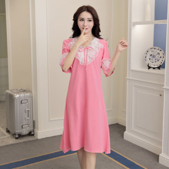 MM Korean-style cotton Female Summer lace pajamas lingerie (Watermelon red)