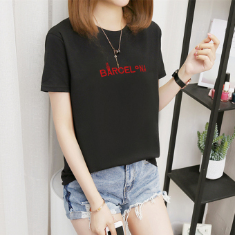 MM Korean-style Plus-sized female New style T-shirt (378-BA embroidery-black)