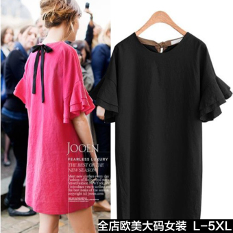 MM New style short sleeved Plus-sized dress (Black)