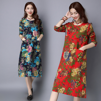MM retro cotton linen autumn New style casual dress (Dark blue color)