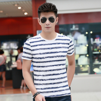Mo Enhan version New style Slim fit striped T-shirt
