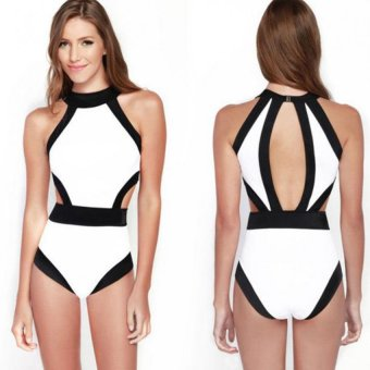 Moonar Women Sexy Padded Patchwork Backless One-piece Swimsuit (White)