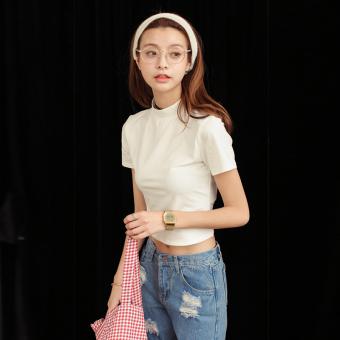Mooti/ti wonderful summer new korean version of slim short paragraph small turtleneck striped short sleeve t-shirt shirt bottoming shirt female (Beige)