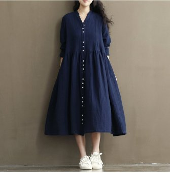 Mori girl cotton linen autumn New style long-sleeved dress loose skirt (Blue) (Blue)