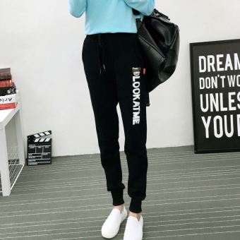 Mrs sandra korean version of the thin section of the spring and autumn sports pants female trousers pants feet two bars was thin loose harem pants wei pants (Thin section-look black)