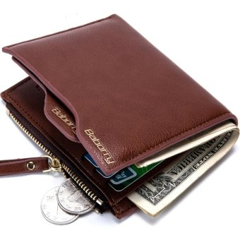 New Men Antimagnetic Anti RFID Wallet Men Short Wallet with the Zipper - Coffee