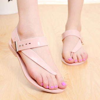 New style Crystal Flower sandals flip shoes (Pink)