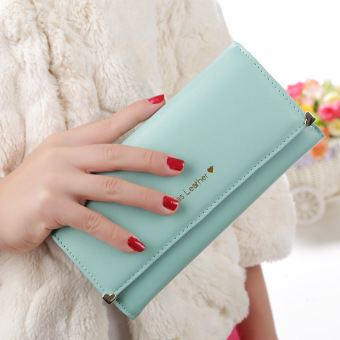 New style Korean-style long section of Ms. wallet female fashion love rivet purse bag three fold long wallet clutch bag female (Tender green color)