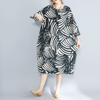 New style Linen big leaf Print loose sleeve dress