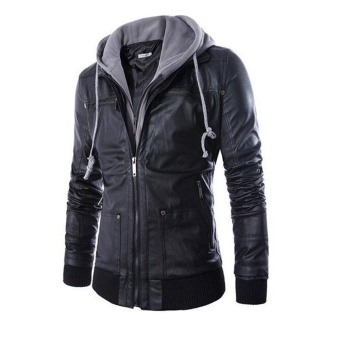 New Style Men's Leather Jacket Coat Casual Fashion Hooded Hoodies - intl