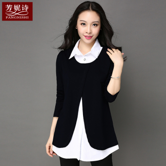 New style mid-length loose long-sleeved t-shirt (Black) (Black)
