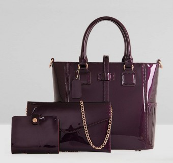 New style patent leather picture package three sets (Noble purple) (Noble purple)