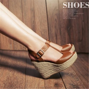 New style ultra-high-heeled thick bottomed small sandals (Brown)
