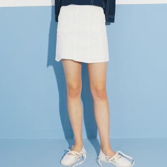 OMONT tarts home retro high waisted Slimming effect wild stripes a word skirt children half-length skirt summer 2017 New style K (This white (spot))