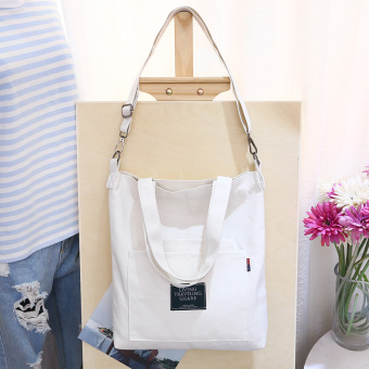Original can be removal strap new literary wild canvas shoulder bag canvas bag Korean messenger bag handbag bag (Can be removal 002 white)