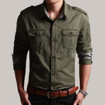 Outdoor New style men's outdoor shirt (Army green) (Army green)