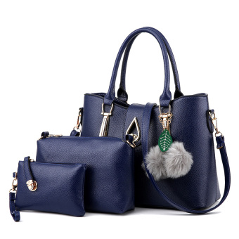 Picture bag female bag 2017 New style Korean-style minimalist fashion wild handbag big bag Cool simple three sets (Sapphire blue color)