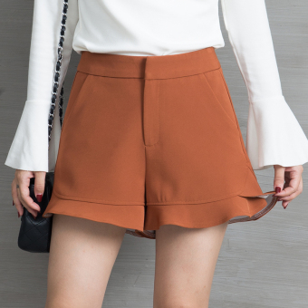 Pineapple summer female winter New style thick high-waisted wide leg pants shorts (Caramel Color)