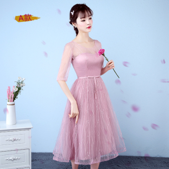 Pink bridesmaid dress mid-length dress bridesmaid dress (Beans yarn color a Section)
