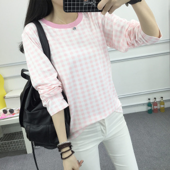Plaid Slim fit loose creative long-sleeved t-shirt bottoming shirt(Pink) (Pink)