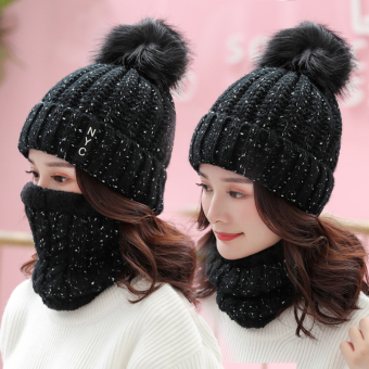 Qiudong Plus velvet female warm thick wool cap hat (Black--Sleeve Cap (HAT + scarf))