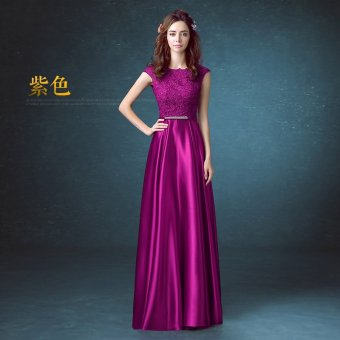 Red spring New style banquet evening dress wedding dress (Purple) (Purple)