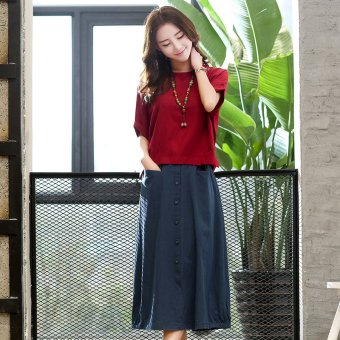 Retro Linen summer long half-length skirt two piece suit (Red wine) (Red wine)