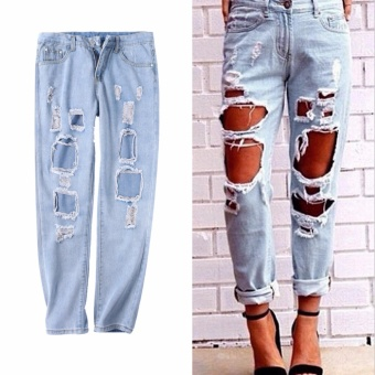 Ripped Distressed Jeans Women Pants Denim Destroyed Hole Vintage Mid Rise - intl
