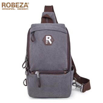 ROBEZA men's casual canvas shoulder bag chest pack (Gray) (Gray)