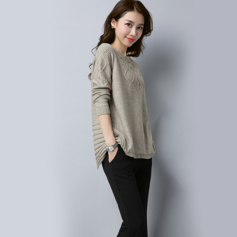 Shishang female pullover casual long-sleeved round neck sweater New style sweater (Beige)