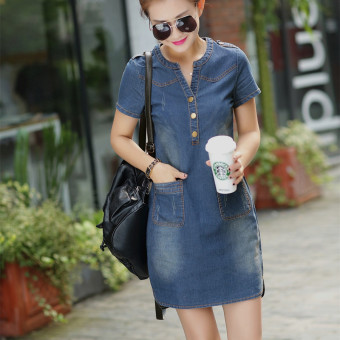 Short sleeved mid-length Slim fit slimming A-line dress New style denim dress (Dark blue color)