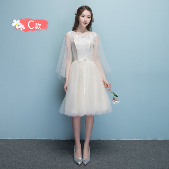 Sisters Korean-style champagne color winter New style bridesmaid dress (816 short champagne color C Models)