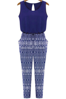 Sleeveless Stitching Print Jumpsuit (Blue)