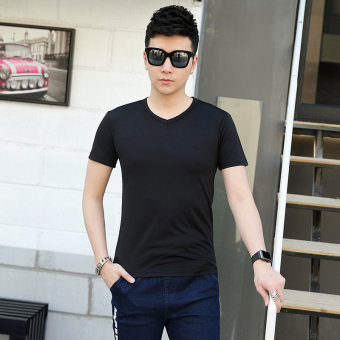 Solid color New style round neck short sleeved t-shirt (V-neck black)