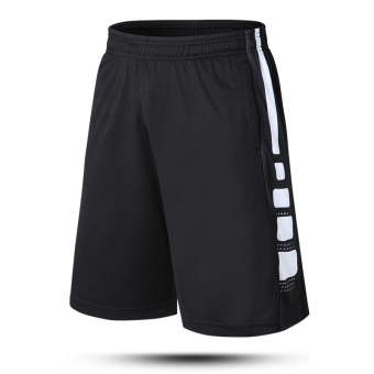 Sports men running shorts quick-drying shorts (Black and white) (Black and white)