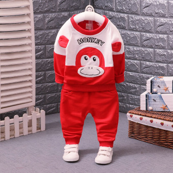 Spring and Autumn New style infant clothes 0 boys baby autumn dresssuit a children's long-sleeved two-piece sets 2-3 years old tide(Monkey red)