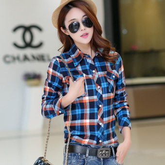Spring and Autumn plaid Slim fit cotton brushed long-sleeved shirt(1002 blue plaid) (1002 blue plaid)
