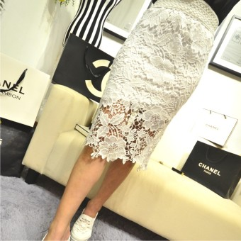 Spring and summer New style high-waisted half-length skirt lace dress (White) (White)