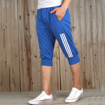 Spring and summer New style sports shorts male pant summer thinsection loose casual breathable Korean-style running pants (Blue)