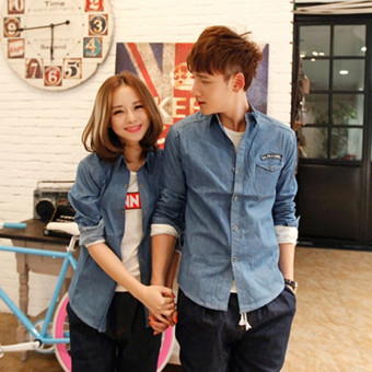 Spring new denim for men and women thin section denim Top shirt (Blue) (Blue)