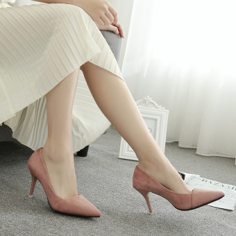 Spring New style thin heeled pointed shoes suede high-heeled shoes (Pink) (Pink)