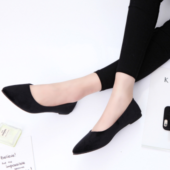 Spring pointed flat shoes New style women's shoes (Black)