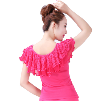Square dance New style short-sleeved lace Top (Lotus leaf bright wrought Top rose)