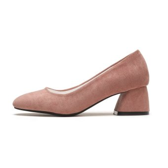Square head suede shoes high-heeled shoes (Pink)
