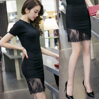 Step C15 Shishang high-waisted irregular lace sheath half-length skirt