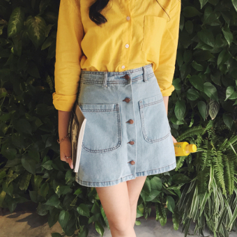 Step female Korean-style free half-length skirt high waist denim skirt (Light blue)